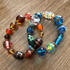 Lot of 2 Glass Bead Bracelets